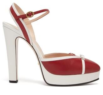 Gucci Alison Leather Platform Pumps - Red White
