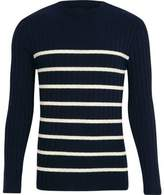 River Island Mens Navy knit stripe muscle fit crew neck sweater