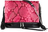 Ash Kimi Leather Fringe Crossbody Bag, Pink Snake
