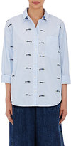 Sea Women's Embroidered Cutaway-Back Shirt-WHITE, BLUE