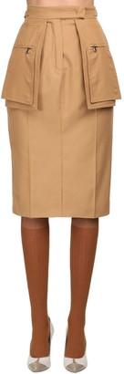 Max Mara High Waist Cotton Twill Skirt W/ Pockets
