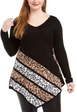 Belldini Plus Size Point-Hem Animal-Print Sweater