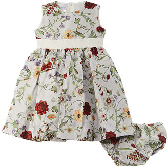 Oscar de la Renta Mixed Botanical Jacquard Dress