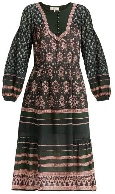 Sea Mia Printed Cotton Blend Dress - Womens - Green Print