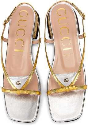 Gucci Alison Sandals in Gold & Silver | FWRD
