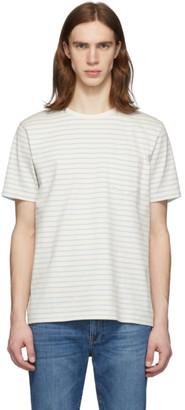 Frame White and Blue Stripe Pocket T-Shirt