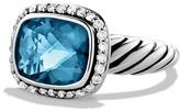 David Yurman Noblesse Ring with Hampton Blue Topaz & Diamonds
