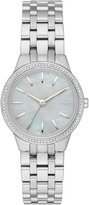 DKNY Park Slope Stainless Steel Watch With Glitz And Mother Of Pearl Dial