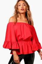 boohoo Anna Off The Shoulder Ruffle Sleeve Top