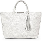 Botkier Quincy Tasseled Whip-Stitched Faux-Crocodile Tote