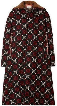 Gucci Faux Shearling-trimmed Wool-jacquard Coat
