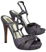 Badgley Mischka Charcoal Glitter Open Toe Heels
