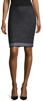 St. John Wool Embroidered Pencil Skirt