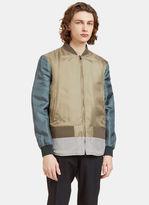 Fendi Men's Reversible Padded Bomber Jacket In Khaki