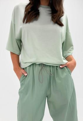 Missguided Petite Sage Drop Shoulder Oversized T Shirt