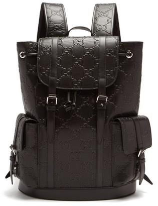 Gucci Explorer Logo-embossed Leather Backpack - Black