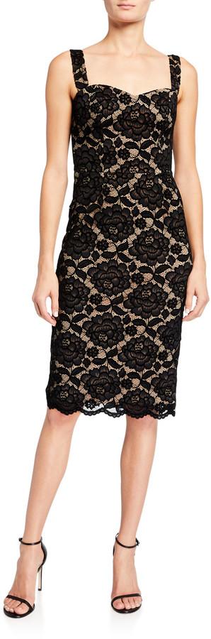 Dress the Population Nicole Sweetheart Velvet Lace Slip Dress