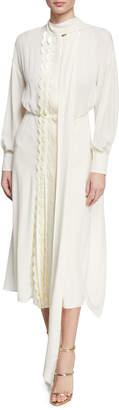 Valentino Long-Sleeve Velvet-Scalloped Silk Midi Dress