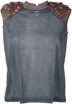 Kolor floral accent crew tank - women - Polyester - 2