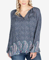Lucky Brand Trendy Plus Size Peasant Blouse