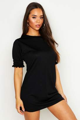 boohoo Sheered Puff Sleeve Shift Dress