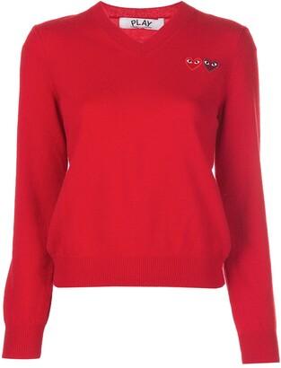 Comme des Garcons knitted v-neck heart jumper