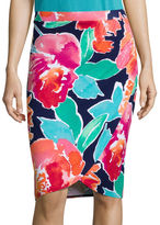 Liz Claiborne Floral Knit Faux-Wrap Skirt - Tall