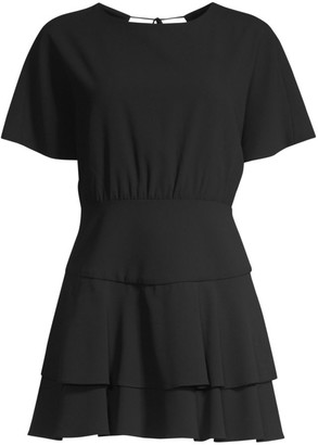 Alice + Olivia Palmira Flounce Hem Mini Dress
