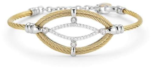 Alor 18K White Gold and Stainless Steel Yellow Cable 0.33ct Diamond Bangle