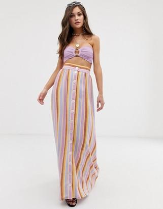 Montce Swim Edith maxi skirt in stripe multi
