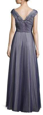 Kay Unger Pleated Tulle & Lace Gown