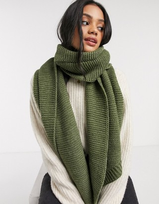 Pieces khaki wool oversized scarf