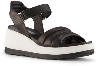 Cougar Adjustable Leather Open-Toe Wedge Sandals - Honey
