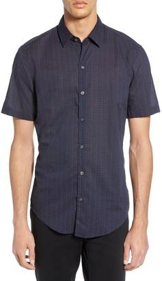 BOSS Robb Sharp Fit Microprint Sport Shirt