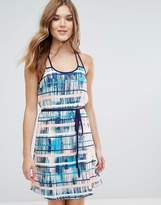 Lavand Printed Belted Dress With Racer Back