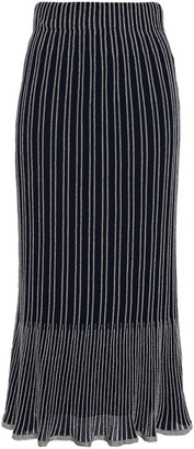 M Missoni Metallic Striped Crochet-knit Cotton-blend Midi Skirt