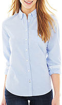 JCPenney jcp Long-Sleeve Oxford Shirt - Petite