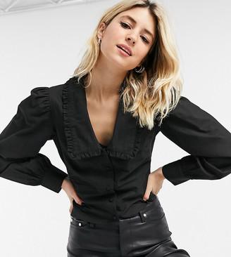 Reclaimed Vintage inspired frill collar shirt in black