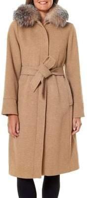 1 Madison Belted Wool-Blend Fox Fur-Trim Hooded Coat