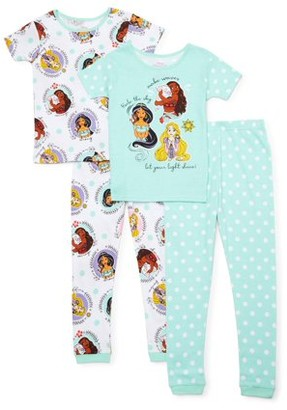 Disney Princess 4-10 Tight Fit Cotton 4-Piece Pajama Set