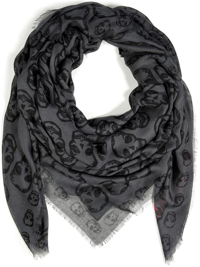 Zadig & Voltaire Kerry Skull Scarf in Iron