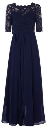 Dorothy Perkins Womens Jolie Moi Navy Lace Overlay Maxi Dress, Navy