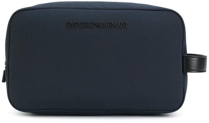 Emporio Armani logo plaque wash bag