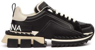 Dolce & Gabbana Black And Beige Leather Super King Sneakers