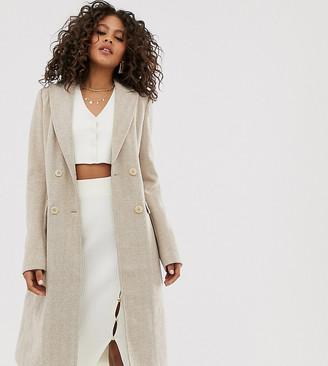Fashion Union Tall herringbone longline coat-Beige