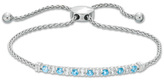 """Zales Swiss Blue Topaz and Lab-Created White Sapphire Bolo Bracelet in Sterling Silver - 8.5"""""""