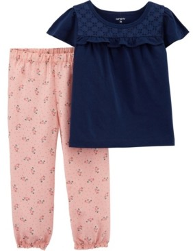 Carter's Baby Girls Lace Tee and Floral Pants Set