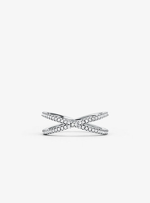 Michael Kors Precious Metal-Plated Sterling Silver Pave Nesting Ring - Silver
