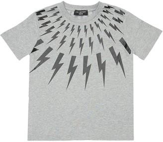 Neil Barrett Thunder Print Cotton Jersey T-shirt