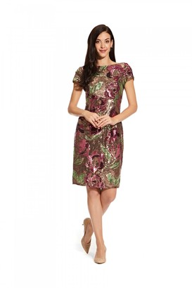 Linzi Adrianna Papell Floral Sequin Cocktail Dress